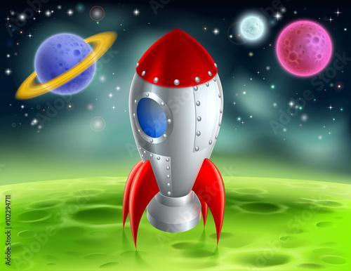 Foto op Aluminium Kosmos Cartoon Rocket On Alien Planet