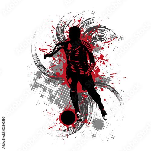 Fototapeta Fußballspieler vor rotem Hintergrund mit Farbspritzern