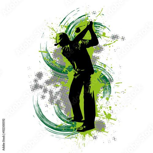 Fototapeta Golfspieler vor grünem Hintergrund