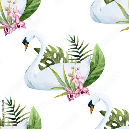 Watercolor swan pattern - 102308704