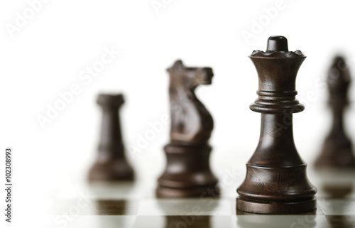 Fotografiet Chess Game over White Background