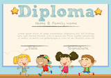 Diploma template with children in background
