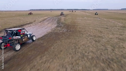 Foto op Plexiglas F1 Aerial view of utv race. Mud track.