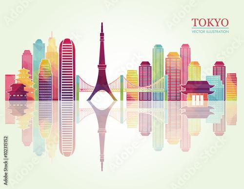Fototapeta Tokyo detailed skylines. vector illustration