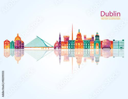 Poster Dublin detailed skylines. vector illustration
