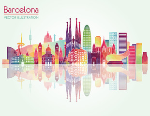 Barcelona skyline detailed silhouette. Vector illustration