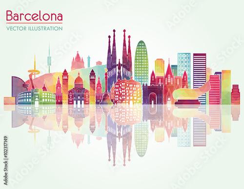 Poster Barcelona skyline detailed silhouette. Vector illustration