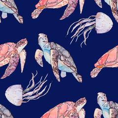 Underwater sea pattern. Sea turtles and jellyfish. Ocean vector