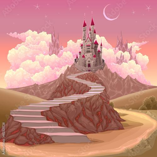 Fantasy landscape with castle Plakát