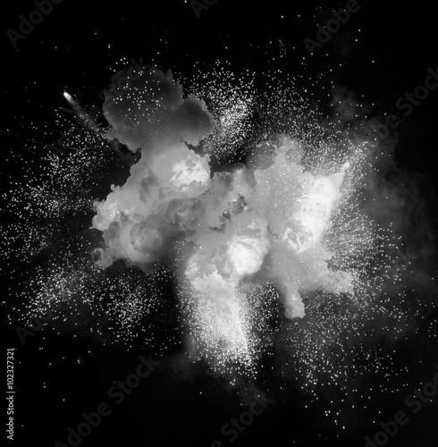 White explosion on the black background Poster