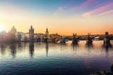 Prague, Charles Bridge in the morning; Czech Republic - 102330757