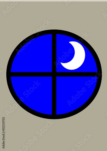 Hublot fen tre ouverture sur la nuit et lune stock image for Fenetre hublot
