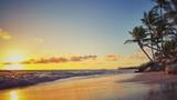 Fototapety Tropical beach and beautiful sunrise