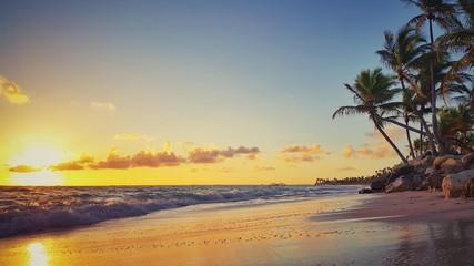 Tropical beach and beautiful sunrise