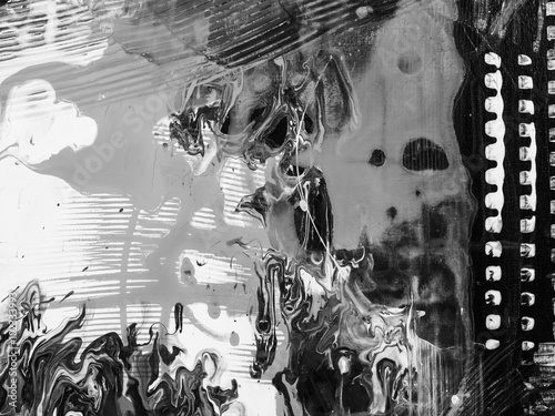 Fototapeta Abstract hand painted monochrome background