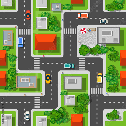 Materiał do szycia Top view of the city seamless pattern of streets, roads, houses, and cars