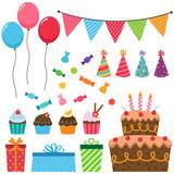 Fototapety Birthday party elements