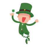 Vector Illustration of a jumping, smiling cartoon leprechaun holding a four-leaf clover for St. Patrick