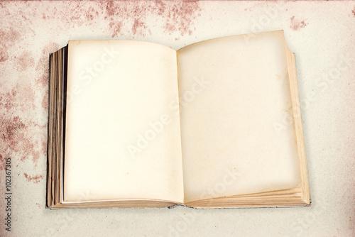altes Buch mit leeren Seiten auf fleckigem Hintergrund. Retro De Poster
