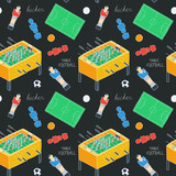 Table football sketch. Seamless pattern with hand-drawn cartoon icons - old-fashioned foosball player ,ball, field, figurine. Vector illustration - swatch inside