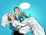 Fototapety Wedding couple bride groom love on hand