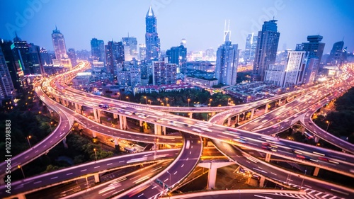 Foto op Aluminium Nacht snelweg 4k resolution Shanghai city traffic junction time lapse