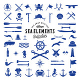 Vintage Vector Sea or Nautical Icon Elements Set for Your Retro Labels, Badges and Logos.