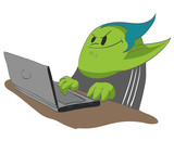 Colorful vector illustration of an internet troll.