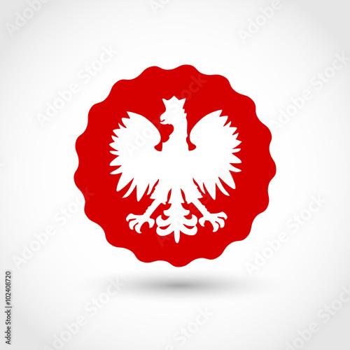 Obraz na płótnie Badge with Polish Eagle vector