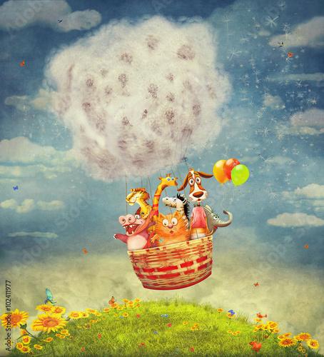Fototapeta Happy animals in the air balloon in the sky - illustration art