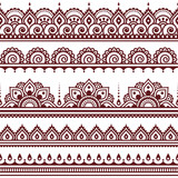 Mehndi, Indian Henna tattoo brown seamless pattern, design elements - 102419331