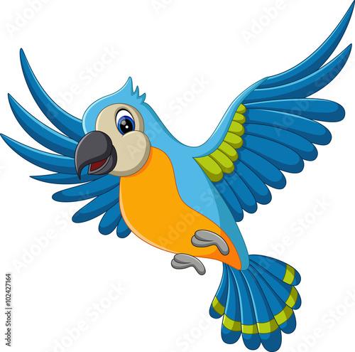 illustration of Cartoon funny macaw flying