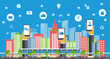 business smart city.internet connection.social concept