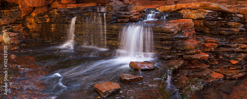 Small waterfall in the Hancock Gorge, Karijini NP, Australia - 102439131