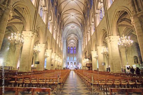 Paris, France, February 6, 2016: interior of Notre Dame de Paris, one of the Paris simbols Photo by Dmitry Vereshchagin