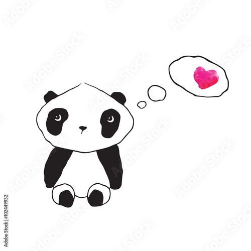 Little cute panda with pink watercolor heart. Greeting card for Valentine's Day, Mother's Day, Father's Day, birthday, wedding. Hand drawn panda for your design. Doodles, sketch. Vector. - 102449932