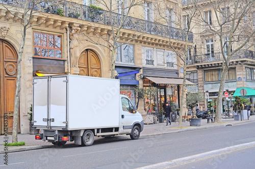 Fotobehang Parijs Paris, France, February 6, 2016: truck on a parking in Paris, France