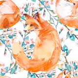 Fototapety Wildlife pattern. Fox and flowering branches. .