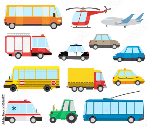 Plexiglas Auto set of cartoon transport