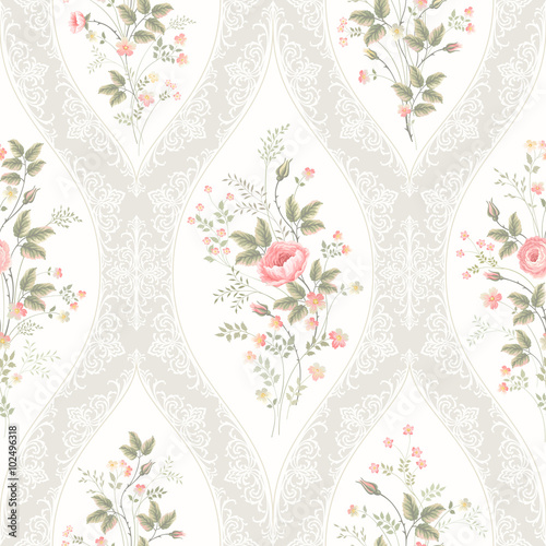 Fototapeta seamless floral pattern with lace and floral bouquet