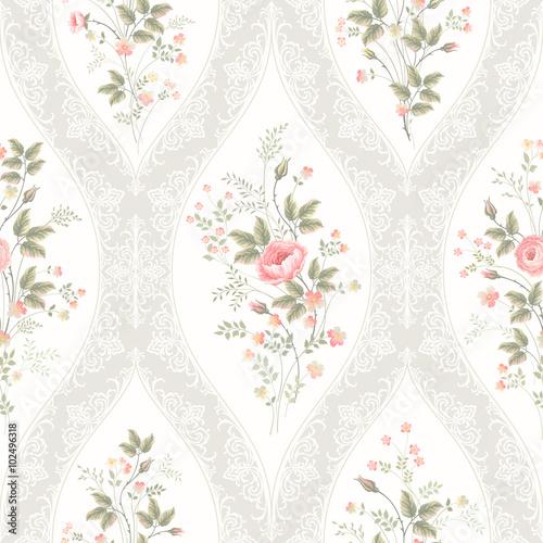 Zdjęcia na płótnie, fototapety, obrazy : seamless floral pattern with lace and  floral bouquet