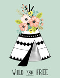 Abstract tribal design with teepee and flowers.