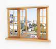 Wooden window. Beautiful landscape, from window - 102499398
