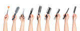 Fototapety collection of hands holding tools for hair salon isolated on whi