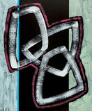 An abstract painting; Interlocking Shapes on a Black Background