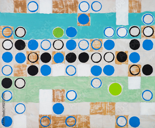 An abstract painting; circles on a regular grid - 102537948