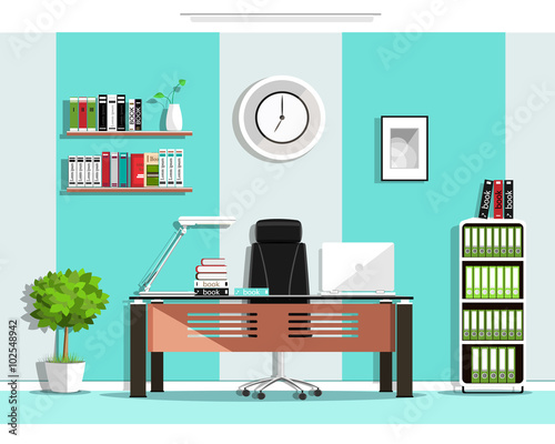 Cool Graphic Office Room Interior Design With Furniture: Chair, Table,  Bookcase, Shelves