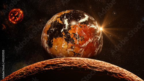 Foto op Canvas UFO Alien Exo Planet. Elements of this image furnished by NASA