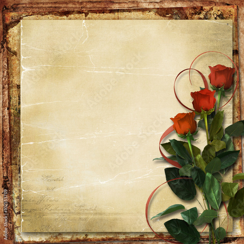 Fotobehang Retro Valentine card. Grunge background with roses