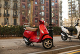 red moped in Barcelona